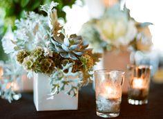 Clustered Green Arrangement in White Vase 1