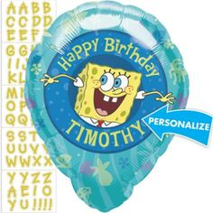 Foil SpongeBob Personalized Balloon 18in - Party City