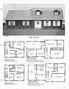 United States, c. The Truitt A gambrel-roofed house with three bedrooms on the upper level and one bedroom with a private washroom on the lower level. Gambrel Roof, Cottages And Bungalows, 2 Story Houses, One Bedroom, House Plans, Floor Plans, United States, How To Plan, Vintage