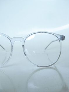 ab901fb1a6ee Vintage Clear Round Eyeglasses 1970s Oversized Wayfarer Ice Glass Crystal  Indie Hipster Geek Chic 70s Round Reading Glasses Sunglasses