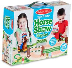 Your child can enjoy hours of entertainment with the Melissa & Doug Train & Jump Horse Show Playset. Your little one can train and care for a pony, and get it ready for horse shows and competitions with the riding and jumping accessories. Equestrian Supplies, Melissa & Doug, Buy Buy Baby, Christmas Toys, Show Horses, Toddler Toys, Competition, Pony, Train