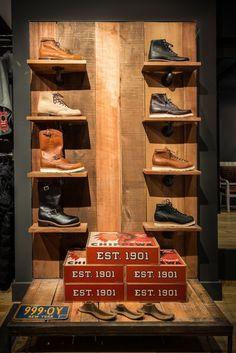Schott NYC 236 Elizabeth st - Chippewa Display, via A Continuous Lean. Love the boot on the top left. Shoe Store Design, Retail Store Design, Shoe Shop, Retail Stores, Boutique Interior, Shop Interior Design, Retail Wall Displays, Shop Window Displays, Display Window