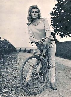 Sharon Tate rests a bike.Sharon Tate Eye of the Devil Filmways Pictures 1965