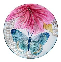 Butterfly Dance with Hibiscus Bird Bath