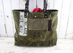US MILITARY Bag Tote WWII Era Repurposed Mens Unisex Bags