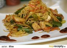 Čínské nudle ode mne recept - TopRecepty.cz Macaroni Spaghetti, Japchae, Meat, Chicken, Cooking, Ethnic Recipes, Lasagna, Kitchen, Brewing