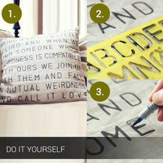 Stenciled cushion covers. Simple and Creative. http://kingdomofinteriors.com/