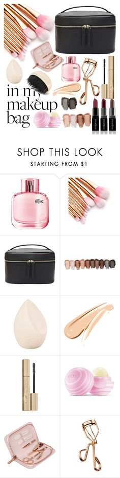 """""""In my bag makeup"""" by just-me-a-girl ❤ liked on Polyvore featuring beauty, Lacoste, Witchery, Christian Dior, Stila, Eos, Ted Baker, Tweezerman and Forever 21"""