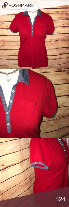 Tommy Hilfiger Red Polo w/Denim Accents Super cute and preppy classic Tommy Hilfiger polo shirt. Great vibrant red shade with denim/chambray accents. Super soft and stretchy. Excellent quality and condition. Check out my other listings to bundle and save! Tommy Hilfiger Tops