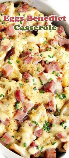 Eggs Benedict Casserole Ingredients List 6 English muffins, cut into cubes 2 packages Canadian bacon, cut. Breakfast Items, Breakfast Dishes, Breakfast Casserole, Breakfast Recipes, Breakfast Bake, Brunch Dishes, Eggs Benedict Casserole, Egg Benedict, Egg Recipes