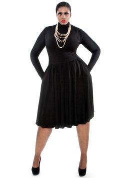 JIBRI Long Sleeved Mock Neck Flare Dress * Flare skirt * Fitted long sleeves * Chic side pockets * Fabrication: Jersey * Sizing: True to Size * Handmade in Atlanta, GA Style Notes: Effortlessly stylish and flattering for all body types.