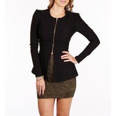 zip up peplum blazer--check neutral skirt color--check skirt length----nope
