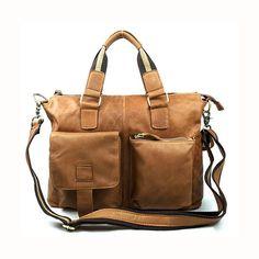 Men Vintage Genuine Leather Casual Handbag Retro Business Crossbody Bag