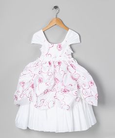 Take+a+look+at+the+White+&+Fuchsia+Sequin+Flower+Pickup+Dress+-+Toddler+&+Girls+on+#zulily+today!