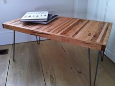 Mid century modern coffee table with hairpin legs by scottcassin, $345.00  What about modifying this into a desk?