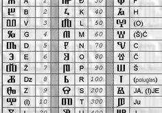 The Glagolitic alphabet, which the Croats used for over a thousand years. It was written in the old Church liturgical books, and ancient Croatian texts of different purposes, carved into stone blocks and found in archaeological sites.  It looks very intriguing, like some magic occult symbols although it was used strictly to write bible by hand or for text of early christian origin. Nice to have hidden message (or logo) only you will know meaning!