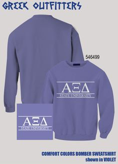 Alpha Xi Delta Greek Outfitters Comfort Colors Bomber Sweatshirt #grafcow