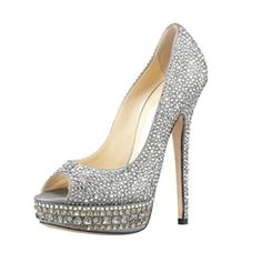 Summer Silver High Heels leather Peep Toe Women Pumps with Beading