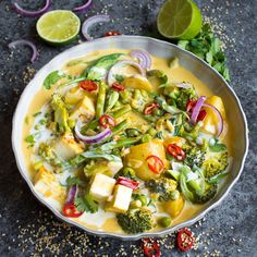 This creamy Vegan Red Thai Coconut curry is full of delicious veggies and covered with a thick, coconut sauce