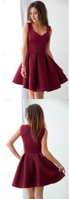 Elegant Homecoming Dress,Burgundy Homecoming Dresses,2018 Homecoming Dresses,Short Party Gowns,Satin Cocktail Dress DS326 #burgundy #simple #homecoming #cocktail #short #satin #okdresses