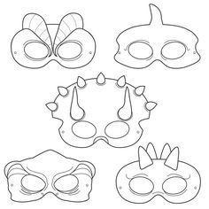 Dinosaurs Printable Coloring Masks, dinosaur masks, triceratops mask, trex mask, pterodactyl, stegosaurus, prehistoric, jurassic, dino mask