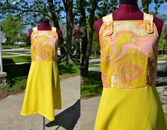 1960s Vintage Pink and Yellow Day Dress size by TabbysVintageShop, $28.95