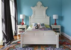 Wow gorgeous headboard! Love it. Emily & Andrew's Colorful New Orleans Home #headboard #bed #bedroom
