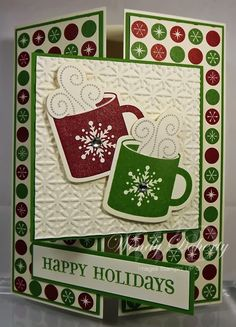 "This card was created for the October 2013 Christmas card challenge.  The challenge was to create a card using a ""different"" fold.  I ..."