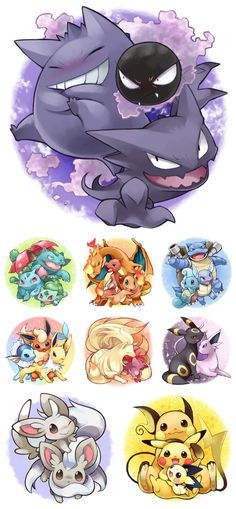 Pokemon <3 My childhood...and my favorites are at the top. :3 I love my ghost pokemon. x3 Called it. ._.