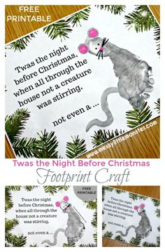 'Twas the Night Before Christmas' footprint mouse craft. A keepsake Christmas Card idea for babies, toddlers and preschoolers.