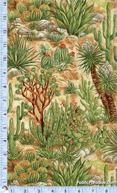 Southwest Splendor - Desert Landscape, $10.75/yard Desert Art, Desert Landscape, Cactus Art, Cacti And Succulents, Tribal Prints, Navajo, Mosaics, Whale, Westerns
