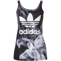 Adidas Originals Smoke Tank Top ($38) ❤ liked on Polyvore featuring tops, shirts, black, scoop neck shirt, loose shirts, loose tank, sleeveless tank and logo shirts