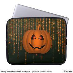 """#ShinyPumpkin #BokehStringLights #15""""LaptopSleeve by #MoonDreamsMusic String Lights Graphics Licensed from https://www.etsy.com/shop/OriginsDigitalCurio?ref=l2-shop-header-avatar"""