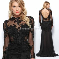Winter O Neck Sheer Appliques Beaded Mermaid Black Evening Dress Long Sleeve Prom Gowns Open Back E6270
