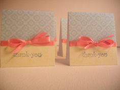 Pink Bow Thank You Card Set of 4 by nyra on Etsy,