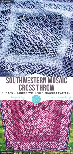 Crochet Afghan Patterns Southwestern Mosaic Cross Throw Free Crochet Pattern - Southwestern Mosaic Cross Throw is one of those designs that look so intricate, you wouldn't believe how easy are they to do. Of course, it requires attention, Motifs Afghans, Crochet Stitches Patterns, Afghan Crochet Patterns, Stitch Patterns, Knitting Patterns, Cross Stitches, Loom Patterns, Crochet Gratis, Free Crochet
