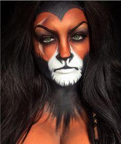 : Das schönste Disney-Make-up zu Halloween Disney Halloween, Scar Halloween Costume, Halloween Inspo, Halloween Kostüm, Scar Face Paint, Face Paint Makeup, Scar Rey Leon, Lioness Makeup, Disney Villain Costumes