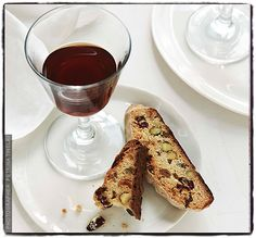 Cranberry and pistachio biscotti with vin santo (Italian dessert wine).