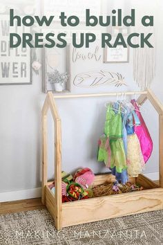 Looking for a good way to store and organize your toddler's dress up clothes and dresses? Build this easy DIY wooden storage rack for dress up clothes! You can also download the free woodworking plans for beginners. #pockethole #dressupstorage #toddlerroom #woodworking Dress Up Outfits, Diy Dress, Woodworking Plans, Woodworking Projects, Dress Up Closet, Dress Up Storage, Pocket Hole Jig, Storage Rack, Wooden Diy