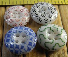 China Calico Buttons Circa 1850's