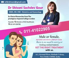 Get OFF up to on your Booking through us at Dr Shivani Sachdev Gour clinic. She is an IVF Specialist that has more than of experience. Art Fertility, Fertility Center, Imperial College, Obstetrics And Gynaecology, Infertility Treatment, Female Doctor, Doctor In, Health Care, Medical