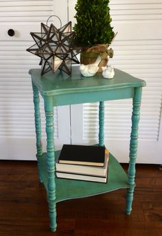 Blue Hydrangea Furniture - Teal side table, distressed furniture, shabby chic.