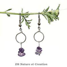 Amethyst dangle earrings geometric minimal by DSNatureetCreation hwww.etsy.com/listing/235164648/amethyst-dangle-earrings-geometric