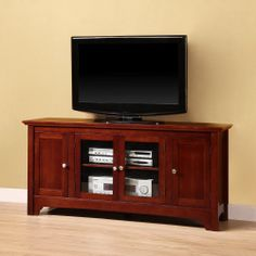 Amazon.com - Walker Edison 52-Inch Wood TV Stand Console with Four Doors, Walnut Brown - Entertainment Stands