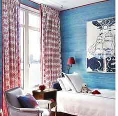 "Blue Faux-Bois ""We wanted a bright, cheery room that said little boy,"" designer Miles Redd says of a kid's room in a New York City apartment. He paired the existing carpet with hand-painted faux-bois walls by Hurtado. ""The red outline lends graphic edge. Bedroom Red, Best Bedroom Colors, Bedroom Design, Room Decor, Modern Bedroom, Blue Bedroom, Bedroom Colors, Bedroom Carpet, Kid Room Decor"