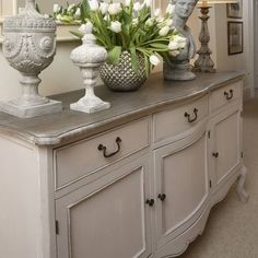 Large Grey Sideboard Dresser Country French Hallway Shabby Vintage Antique Home Sideboard Decor, Dining Room Sideboard, Dining Table, French Country Bedrooms, Country French, French Chic, French Style, French Grey, Country Style