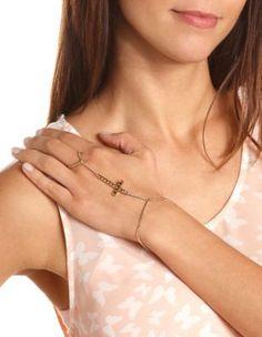 studded cross hand chain