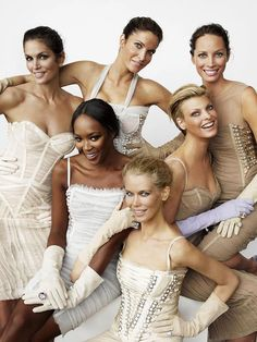 """A League of Their Own"" (Vanity Fair, September 2008 – Photographed by Mario Testino)   Cindy Crawford, Stephanie Seymour, Christy Turlington, Linda Evangelista, Claudia Schiffer and Naomi Campbell."