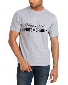 Happiness is DEBIT = CREDIT Campus Sutra Regular Fit Round Neck T-Shirt http://goo.gl/g42yb1
