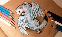 Winter guardian Pencils, pens on a brown paper. It's not easy to draw a fully white creature on a brown paper to make it like a 3D drawing. In real life it looks like alive, hope, the photo is good...